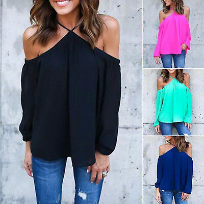 Womens Off The Shoulder Chiffon Top Blouse Casual Loose Long Sleeve T-Shirts Tee