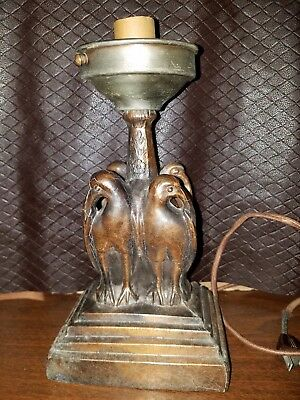 "12"" Cast Metal Vintage Bird Lamp"