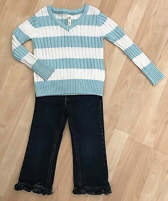 Girls 4T/4 The Children's Place Ruffle Flare Stretch Jeans Cherokee Sweater