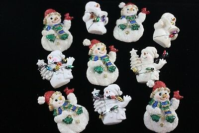Huge Lot of 10 Christmas Brooch Ceramic Pins Snowman Snowmen ADORABLE 🎄