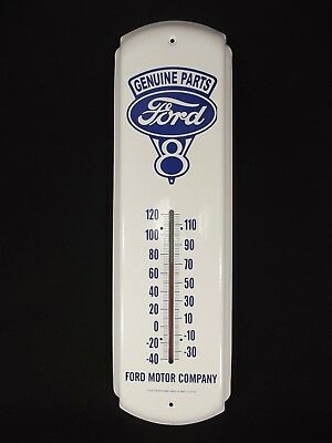 "Ford Thermometer Motor Company Genuine Parts 17""x5"" Beautiful Condition Gas Oil"