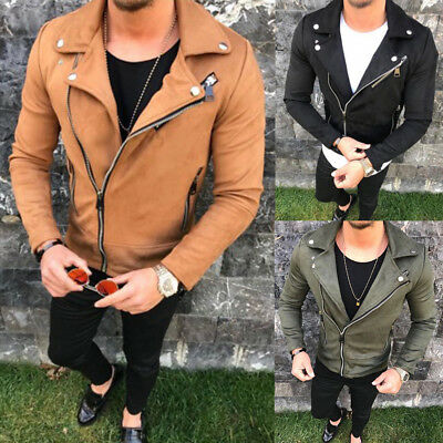 Mens Leather Jacket Slim Biker Motorcycle Jacket Bomber Outwear Tops Clothes