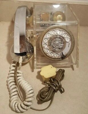 VTG 1970s Teleconcepts Acrylic Lucite Clear Skeleton Cube Telephone FOR PARTS