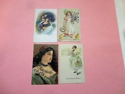 Antique Lot Of 4 Edwardian Postcards Gibson Girl Easter Holidays