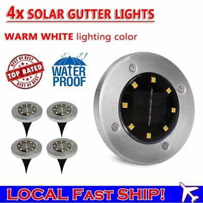 Solar Powered Buried Inground Recessed Lights Garden Outdoor Deck Path 8 LED