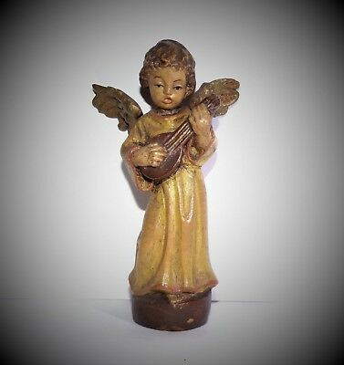 VINTAGE ANRI ITALY Hand Carved Wood ANGEL Playing Lute NATIVITY CRECHE FIGURE
