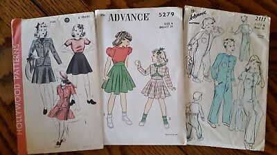 Vintage HOLLYWOOD ADVANCE patterns Girls Sz 4 & 6