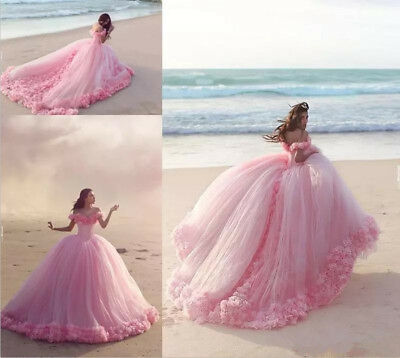 Princess Pink 3D Floral Puffy New Quinceanera Dress Birthday Party Sweet 16 Gown
