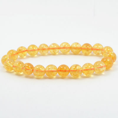 Yellow Round Beads 8mm Crystal Stone Bracelet