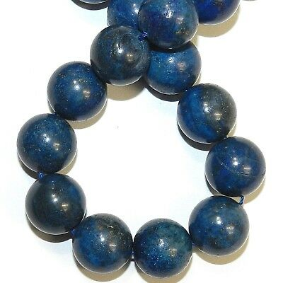 GR2357 Natural Blue Lapis Lazuli 16mm Round Gemstone Beads 15""