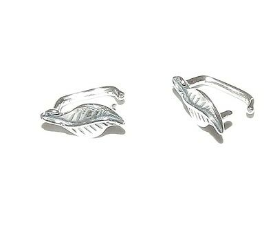 M667 Leaf Shaped .925 Sterling Silver 9mm Ice-Pick Pinch Bail Connector 2pc