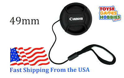 49mm E-49 Center Snap on Lens cap for CANON + Leash Directly attached to cap