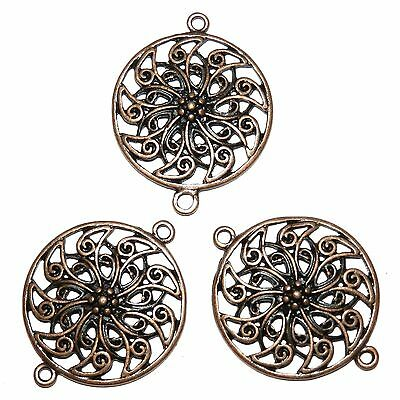 ML377 Antiqued Copper 31mm Flat Round Flower Metal Link Pendant Bead 12pc