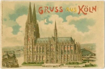 1905 Gruss Aus HTL Koln Cologne Hold to Light View of Cathedral