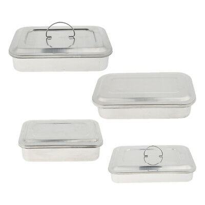 4x Stainless Steel Sterilization Box for Medical Material Instrument Storage