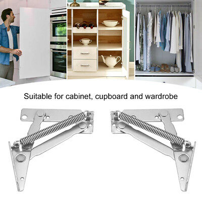 2pcs Spring Hinges Cabinet Cupboard Closet Wardrobe Door Lift up Support 80° HG