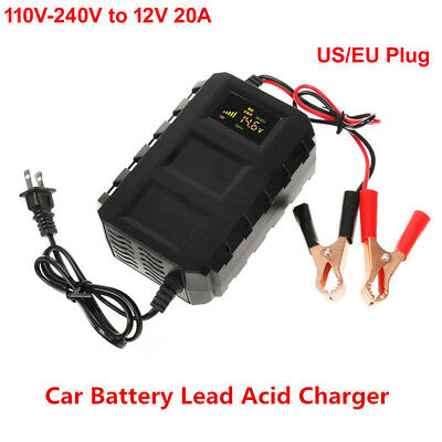 Car Battery Lead Acid Charger Automobile Motorcycle 20A Intelligent LCD Black x1
