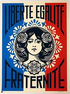 Obey Shepard Fairey - LIBERTE EGALITE FRATERNITE Print Signed & Numbered of 450