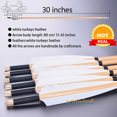 12pcs Natural Wooden Arrows 30inch w White Turkey Feather and Iron Arrowheads