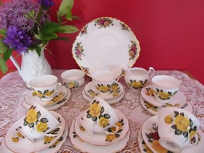 Lovely Vintage  bone china Royal Vale Golden Yellow Rose Tea set  21 pieces