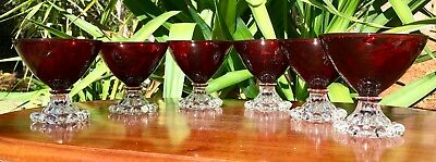 Anchor Hocking -  Boopie Ruby Sherbet Glasses X 6
