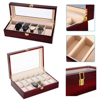 10/12 Grids Luxury Wooden Watch Display Case Storage Box Glass Jewelry Collector