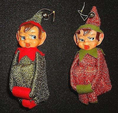 Antique/Vtg Pixie Elf Chenille Knee Hugger Open Mouth Round Nose Ornaments Japan