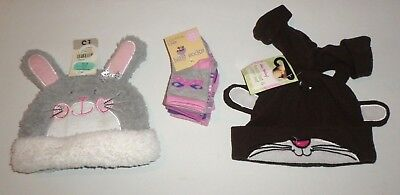 New With Tags 0-3 Months Baby Girls 2 X Hats And 5 Pack Socks With Gloves Bundle