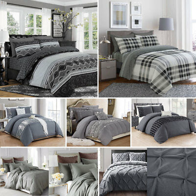 Grey Duvet Cover Set With Pillowcase Quilt Cover Single Double Super King