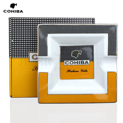 HOT COHIBA Classic Yellow & White Square Ceramic Cigar Ashtray Holds 2 Cigars