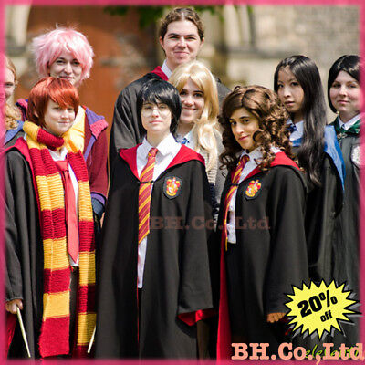 Costume HarryPotter Wand Gryffindor Slytherin Party Dress Cosplay Robe Tie Scarf
