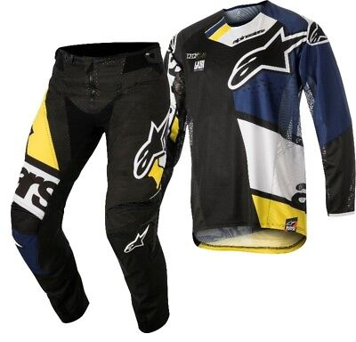 New Alpinestars Pants and Shirt Techstar Factory Black/Blue/Yellow Clearance