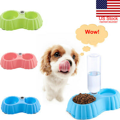 US Pet Water Fountain For Cat Dog Automatic Food Bowl PP Dish Feeder Dispenser