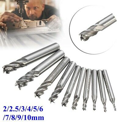 10Pcs Tungsten Carbide 4 Flute HSS End Milling Cutter Slot Drill Bit Set 2-10mm