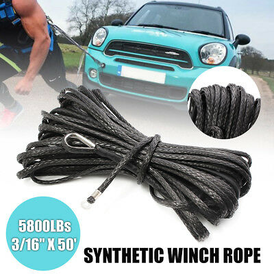 """3/16"""" x 50' Synthetic Winch Rope 5800LBs ATV UTV SUV Ramsey Cable Line W/"""