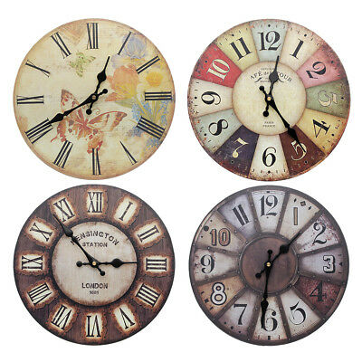30CM Vintage Wooden Wall Clock Shabby Chic Retro Kitchen Home Antique Style DIY