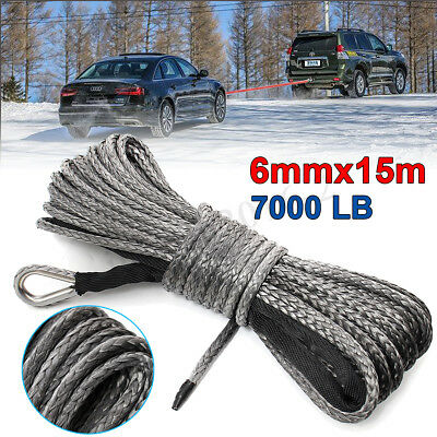 1/4'' x 50' 7000lbs Synthetic Winch Rope Cable Line with Sheath for ATV UTV