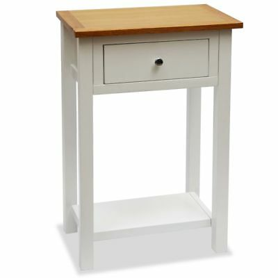 vidaXL Solid Oak End Table 50x32x75cm with Drawer and Shelf Nightstand Side