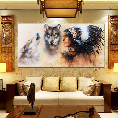 Indian Man Wolf Canvas Oil Painting Print Picture Home Wall Art Decor