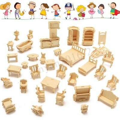 34Pcs 3D DIY Wooden Miniature Dollhouse Furniture Model Kids Play Toys Xmas