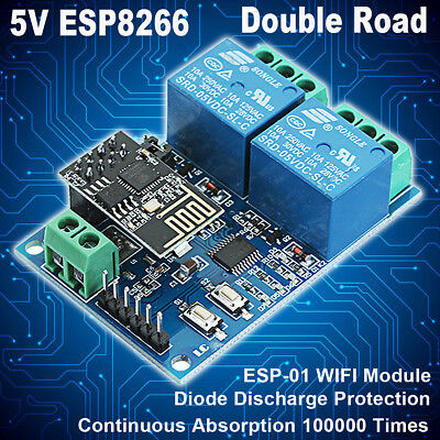 5V WIFI Relay Module ESP8266 IOT Mobile APP Controller 2-Channel For Smart