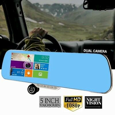"Car DVR Dash Cam Recorder 5"" Auto Mirror Dash Camera G-Sensor Night Vision ZP"