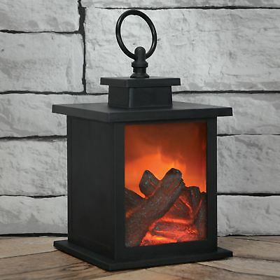 Lyyt LED Fireplace Lantern with Timer - Fire / Flame  Effect - 155.691uk