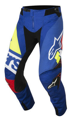 New Alpinestars Pant Techstar Factory Red/Blue/White/Fluo Yellow Clearance