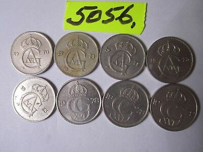 8 x 25 ore coins from Sweden      16  gms      Mar5056