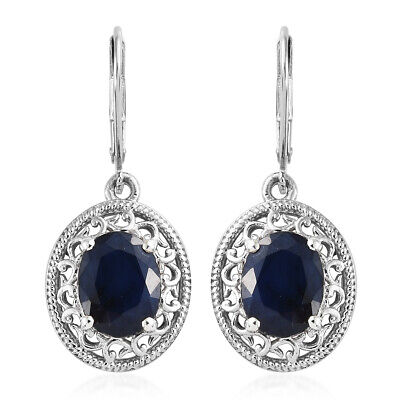 d33046ac132d Silver Platinum Plated Diffused Blue Sapphire Lever Back Earrings Cttw 6.2