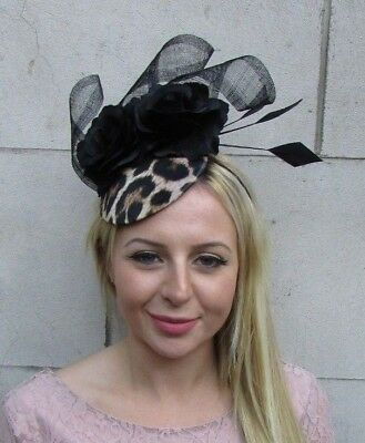 Leopard Print Black Rose Flower Feather Hat Fascinator Races Wedding Hair 6382
