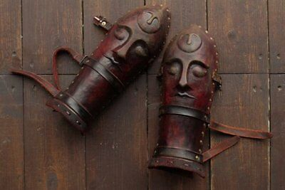 Medieval Leather bracers with Brass accents Viking vambracers Halloween Costume2