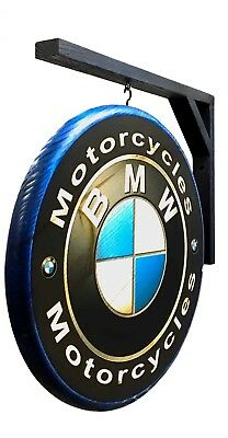 BMW Motorcycle Sign - double sided wall hanging design, includes hanging bracket