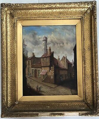 19th Century Original Oil Painting On Board Scottish Cowgate Edinburgh Signed